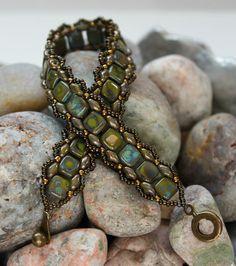 Czechmate Tile and Superduo Bracelet Bead by ReggiesCreations