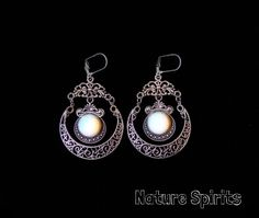 06b668c1e Gypsy Bohemian Opalite Crystal Crescent Half Moon Earrings Boho Hippy Magic  Fancy Elven Ethnic Renaissance Victorian Pagan Wicca