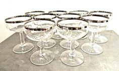 vintage silver-rim champagne coupes  1950s-60s mid by mkmack