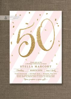 Pink & Gold Birthday Party Invitation Stripes by digibuddhaPaperie