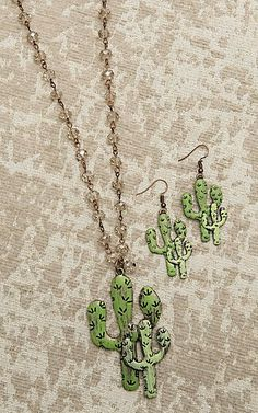 Southern Junkie Crystal Beaded with Cactus Pendant Jewelry Set | Cavender's