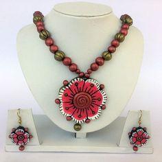 Anikalan Designs Multibead Pink Flower Pendant Terracotta Necklace Set, http://www.junglee.com/dp/B00X7RMURY/ref=cm_sw_cl_pt_dp_B00X7RMURY