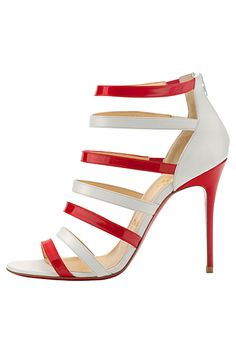 Christian Louboutin Red & White 'Mariniere' Sandal €745 Spring 2014 #CL #Louboutins #Shoes