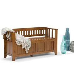 Simpli Home Acadian Light Avalon Brown Storage Bench INT-AXCACA-EB-ALB at The Home Depot - Mobile