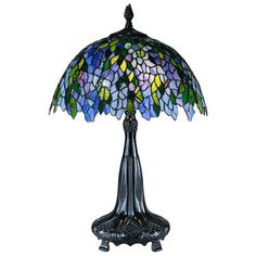 Vintage Tiffany Wisteria Table Lamp with Blue/Green Shade