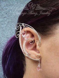 Pair of ear cuffs Pink Waterfall