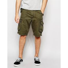 Brave Soul Cargo Shorts (535 MXN) ❤ liked on Polyvore featuring men's fashion, men's clothing, men's shorts, green, mens green cargo shorts, mens cargo shorts, tall mens shorts, tall mens clothing and mens green shorts