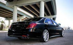 Download imagens A Mercedes-Benz S63 AMG, Vossen, Ajuste de S-classe, preto S63, carros de luxo, Carros alemães, Mercedes