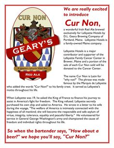 Portland's Geary Brewing has created a special brew for Lafayette Hotels with a portion of sales being donated to the Lafayette Family Cancer Center. Lafayette Hotel, Casco Bay, Brewing Company, Portland, Maine, Cancer, Hotels