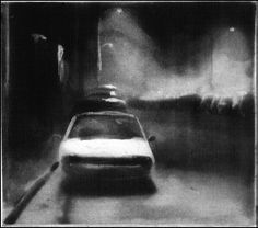 """Parked Car (#7/30), 3 3/4 x 4 3/4"""", spit bite aquatint, 1994."""