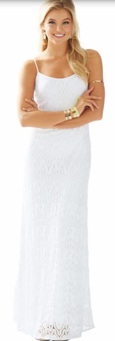 Spaghetti strap lace maxi dress