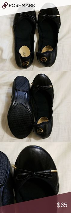Michael Kors Size 10 Ballet Flats Black ballet flats with gold tips on bows. Leather wth a fabric trim. Brand name Michael Kors. New, never worn. Michael Kors Shoes Flats & Loafers