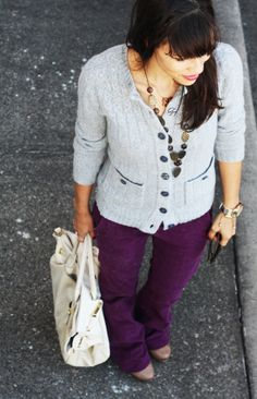 what to wear with purple trousers