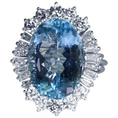 Aquamarine Diamond Gold Ring | From a unique collection of vintage more rings at https://www.1stdibs.com/jewelry/rings/more-rings/