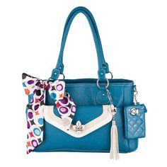 #GraceAdele Ocean Heather Bag, Shay Clutch, Boleyn Medallion, Boleyn Clip-on, Buckle purselet clip-on, Bag Scarf.  Complete look $175