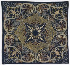 British Cushion Cover (c.1900). Silk embroidery in pale colors on dark blue linen. A horizontally & vertically symmetrical floral pattern in the Morris style. Text & image via the Cooper-Hewitt Design Museum, Smithsonian