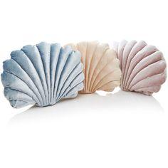 Tamar Mogendorff Set-of-Three Velvet Shell Pillow Set ($530) ❤ liked on Polyvore featuring home, home decor, throw pillows, multi, new york throw pillow, seashell throw pillows, seashell home decor, hand sculpture and velvet throw pillows