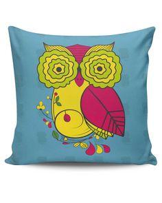 Owl Blue Quirky Art Print Cushion Cover