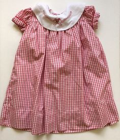 Marco & Lizzy Dress Girls Christmas 24M Red White Plaid Check Collar Candy…