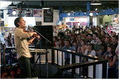 Andrew Bird performing at Waterloo Records at and Lamar Boulevard. Waterloo Records is a much respected local music store where musical acts often make guest appearances. Andrew Bird, Local Music, Book People, Local Attractions, Music Store, Travel News, In The Heart, Ny Times
