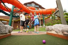 Family fun is par for the course at Howl in One Mini Golf at Great Wolf Lodge Williamsburg Virginia. Enjoy 18 holes of family fun on your family getaway.
