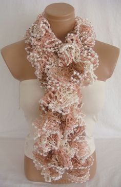Hand knitted Camel,Pink,White ruffled scarf. $19.90, via Etsy.