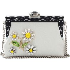 Dolce & Gabbana  Vanda Daisy Bag ($3,595) ❤ liked on Polyvore featuring bags, handbags, black white purse, rhinestone studded handbags, rhinestone handbags, clasp purse and black purse