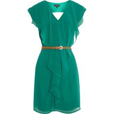 Warehouse Ruffle Front Clean Dress ($26) ❤ liked on Polyvore featuring dresses, vestidos, vestiti, green, green cocktail dress, ruffle cocktail dress, v neck cocktail dress, blue party dress and evening cocktail dresses