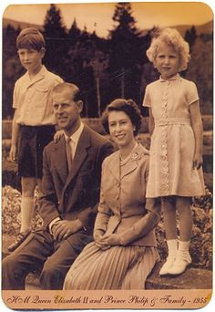 heavyarethecrowns: Queen Elizabeth II and the Duke of Edinburgh with their eldest children, Prince Charles and Princess Anne, 1955
