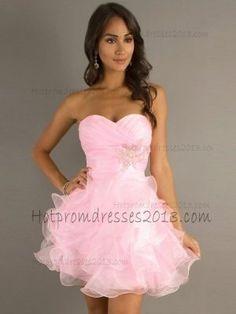 2013 A-line Sweetheart Ruffles Mini Short Organza Dresses