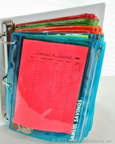 OUR FAMILY BANK {Kids' Money Management} - ReMarkable Home Really want to teach my kids how to manage money, this is a great idea!kids money management binder - 4 zippered pouches (could use more or less, depending on personal desires), labeled for Saving Ideas, Money Saving Tips, Money Tips, Cash Envelope System, Dave Ramsey Envelope System, Envelope Budget System, Bill Organization, Financial Organization, Money Envelopes