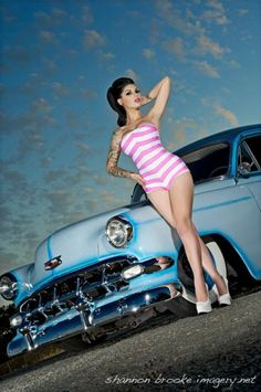 Nice Car! #classic #car #model #pin #up #pinup #tattoo #chevy | http://thepinuppodcast.com re-pinned this because we are trying to make the pinup community a little bit better.
