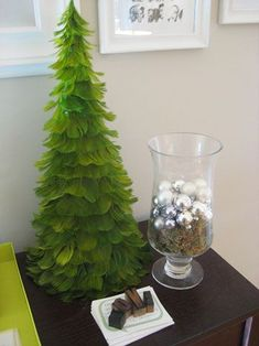 Feather christmas tree - DIY using a paper cone, glue and feathers?