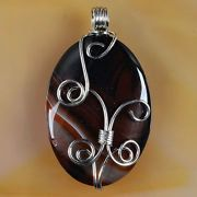 Wire Wrap Brown Onyx Agate Pendant with a choice of a 18 or 24 Silver Plated Chain