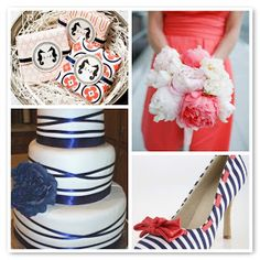Navy and coral wedding Cake shoes dress and decor ideas