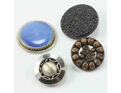 Vintage Focal Buttons Metal Early Plastic 4 pc