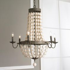 """White Wood Beads and Iron Basket Chandelier.  Gray bronze and white beads.  Great for a beach house.  Burlap or linen shades would look great as well.  30"""" in diameter.  Shabby Chic.  This is a great alternative to the Currey and Company Chanteuse Petit - One Light Chandelier. Similar look at a much more affordable price."""