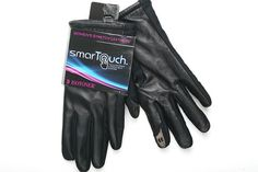 Black Stretch Leather Isotoner smarTouch Women Gloves