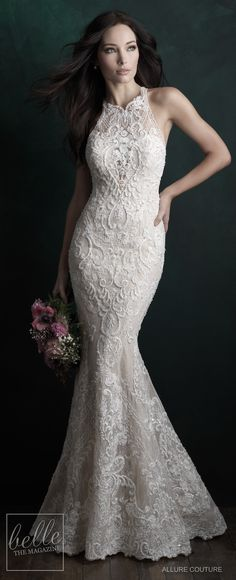 Wedding Dresses A Line Summer Bridal Trends - Halter Wedding Dresses -Allure Couture Fall 2018 lace mermaid wedding dress. Trumpet colored wedding gown with chapel train Colored Wedding Gowns, Elegant Wedding Gowns, Wedding Dresses 2018, Wedding Dress Trends, Bridal Dresses, Trendy Wedding, Wedding Ideas, Dream Wedding, Halter Neck Wedding Dresses