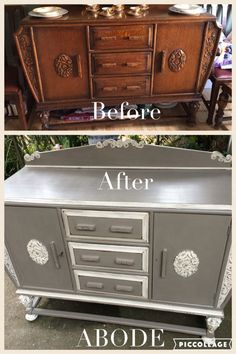 Transformation of an Irish sideboard using Annie Sloan French linen and old white