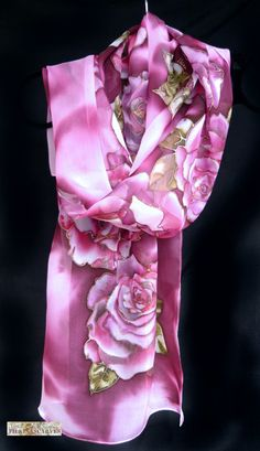 Silk hand painted scarf 100% natural silk shifon by *FilkinaScarves*. An elegant hand-painted scarf with big magenta roses.  I hand paint this scarf inspired by Bulgarian rose - a symbol of our country for centuries. Bulgarian Rose embodies the freshness of nature, aesthetics in Bulgarian culture and the pursuit of beauty and happiness, and its oil is of superior quality, which no competition in the world.