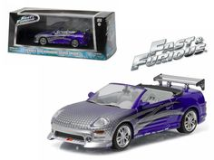 "Roman\'s 2001 Mitsubishi Eclipse Spyder Purple \2 Fast and 2 Furious"" Movie (2003) 1/43 Diecast Model Car by Greenlight"""
