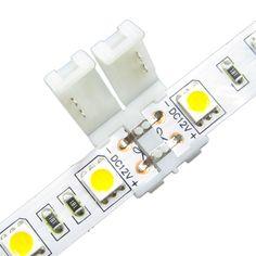 100 unids/lote 10mm 2pin 5050 conector de tira LLEVADA, marcos polaridad no regleta de conectores de soldadura clip, envío gratis