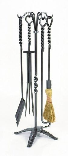 "5 Pc Fireplace Tool Set - Rope. 32""H"