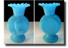 Blue Milk Glass Princess May Vase - French - c.1880s.