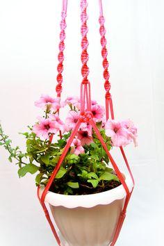 Large Plant Hanger  Pink Macrame Plant Hanger 50 by DanceOfTheSoul