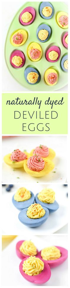 These beautiful Naturally Dyed Deviled Eggs are the perfect pretty appetizer for any holiday & an excellent source of protein. Whether food dye allergies or intolerance's are present in your family or not, everyone can benefit from making the switch to these all natural food dyes! via @EmKyleNutrition