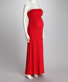 Take a look at this Red Fold-Over Strapless Maternity Maxi Dress by Janine Maternity on #zulily today!