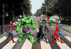 Superheroes on Abbey Road Time art.co.uk