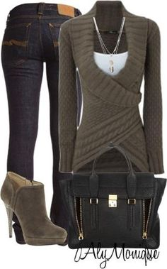 Great winter outfit! Dark skinny jeans, crossover knit sweater (olive/brown), white tank under, gold accessories, short heel boots, and matted purse with gold detailing. Love!!! XL Fashion, Style, trends, plus size. by Paola114